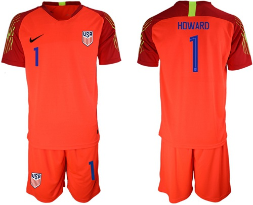 USA #1 Howard Red Goalkeeper Soccer Country Jersey
