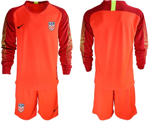 USA Blank Red Goalkeeper Long Sleeves Soccer Country Jersey