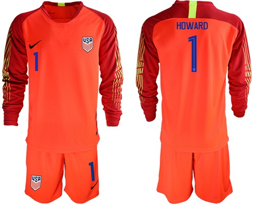 USA #1 Howard Red Goalkeeper Long Sleeves Soccer Country Jersey