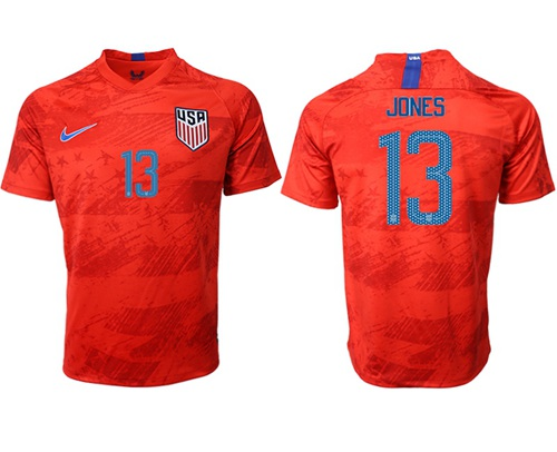 USA #13 Jones Away Soccer Country Jersey