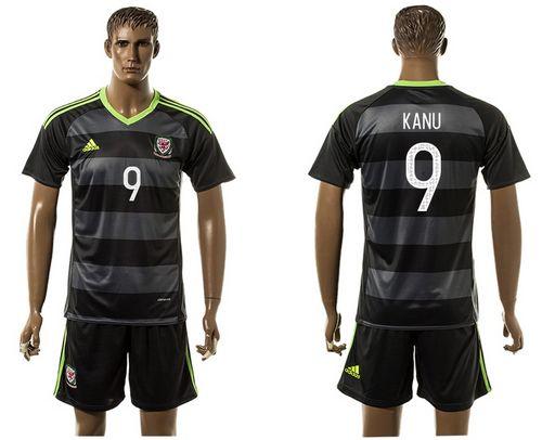 Wales #9 Robson Kanu Black Away Soccer Club Jersey
