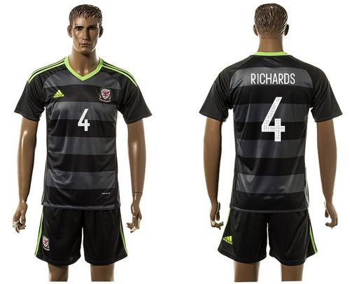 Wales #4 Richards Black Away Soccer Club Jersey