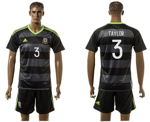 Wales #3 Taylor Black Away Soccer Club Jersey