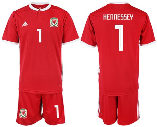 Wales #1 Hennessey Red Home Soccer Club Jersey