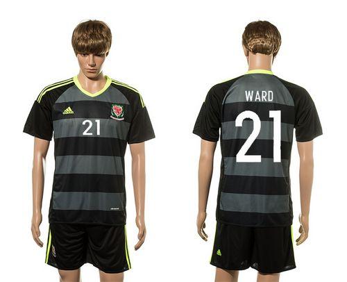 Wales #21 Ward Black Away Soccer Club Jersey