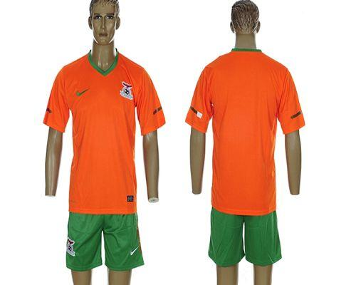Zambia Blank 2012/2013 Orange Home Soccer Country Jersey
