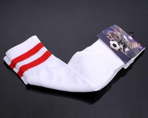 Soccer Football Sock White & Red Stripe