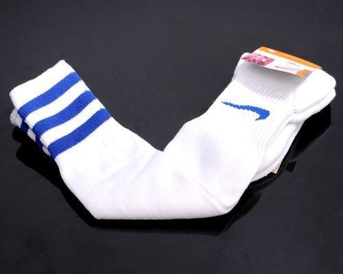 Nike Soccer Football Sock White & Blue Stripe