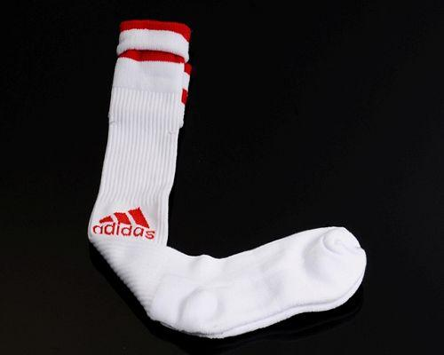 Adidas Soccer Football Sock White & Red Font
