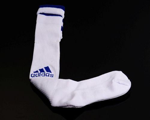 Adidas Soccer Football Sock White & Blue Font