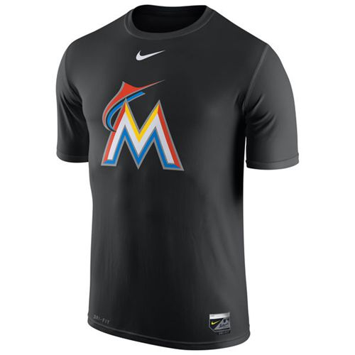 Miami Marlins Nike Authentic Collection Legend Logo 1.5 Performance T-Shirt Black