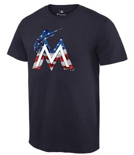 Men's Miami Marlins USA Flag Fashion T-Shirt Navy Blue