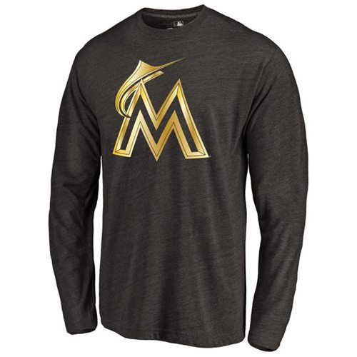 Miami Marlins Gold Collection Long Sleeve Tri-Blend T-Shirt Black