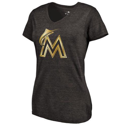 Women's Miami Marlins Fanatics Apparel Gold Collection Tri-Blend V-Neck T-Shirt Black