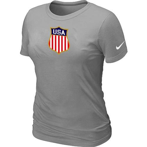 Women's Nike Team USA Hockey Winter Olympics KO Collection Locker Room T-Shirt Light Grey