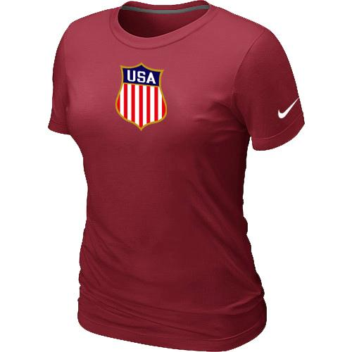 Women's Nike Team USA Hockey Winter Olympics KO Collection Locker Room T-Shirt Red