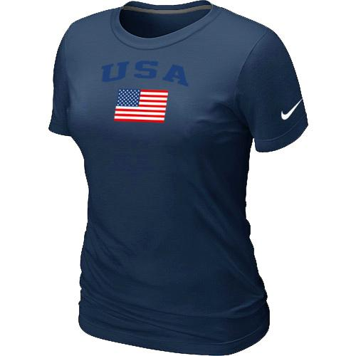 Women's USA Olympics USA Flag Collection Locker Room T-Shirt Dark Blue