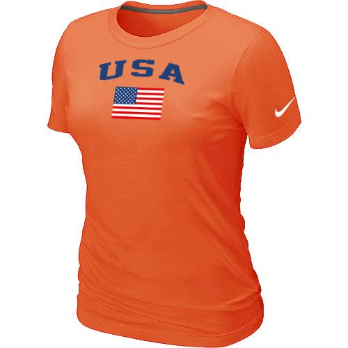 Women's USA Olympics USA Flag Collection Locker Room T-Shirt Orange