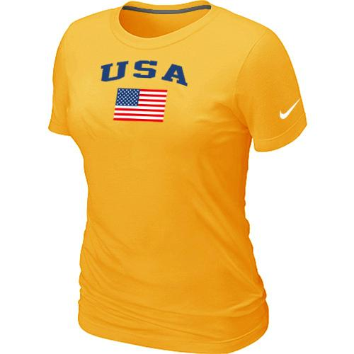 Women's USA Olympics USA Flag Collection Locker Room T-Shirt Yellow