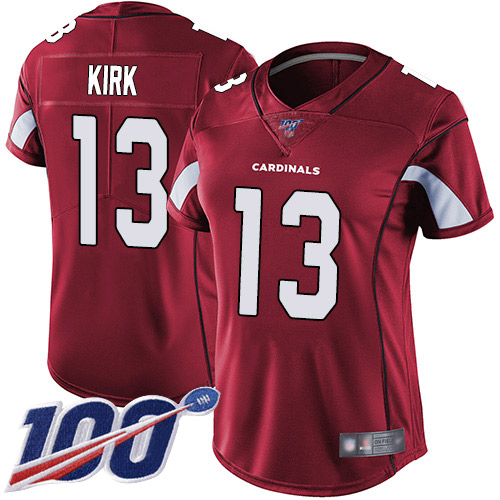 Nike Cardinals #13 Christian Kirk Red Team Color Women's Stitched NFL 100th Season Vapor Limited Jersey