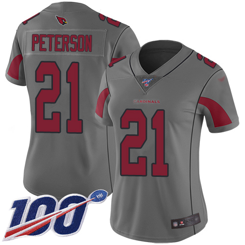 Nike Cardinals #21 Patrick Peterson Silver Women's Stitched NFL Limited Inverted Legend 100th Season Jersey