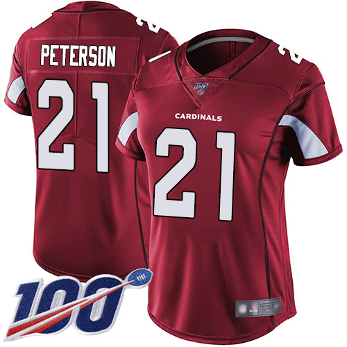 Nike Cardinals #21 Patrick Peterson Red Team Color Women's Stitched NFL 100th Season Vapor Limited Jersey