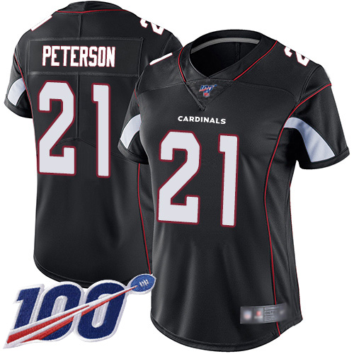 Nike Cardinals #21 Patrick Peterson Black Alternate Women's Stitched NFL 100th Season Vapor Limited Jersey
