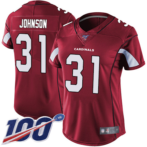 Nike Cardinals #31 David Johnson Red Team Color Women's Stitched NFL 100th Season Vapor Limited Jersey
