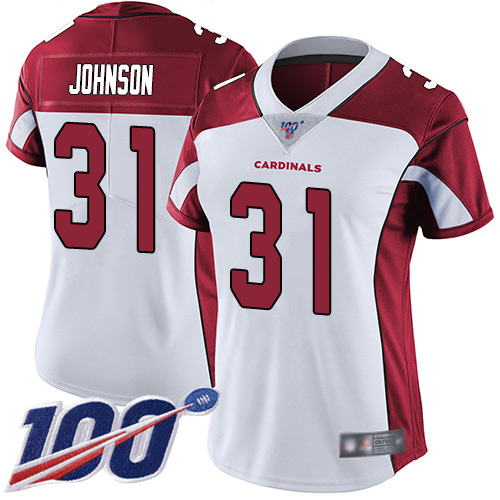 Nike Cardinals #31 David Johnson White Women's Stitched NFL 100th Season Vapor Limited Jersey