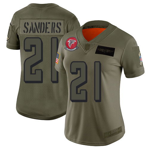 Nike Falcons #21 Deion Sanders Camo Women's Stitched NFL Limited 2019 Salute to Service Jersey