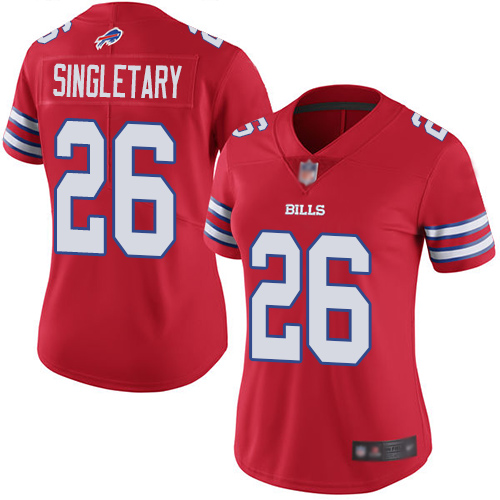 Nike Bills #26 Devin Singletary Red Women's Stitched NFL Limited Rush Jersey
