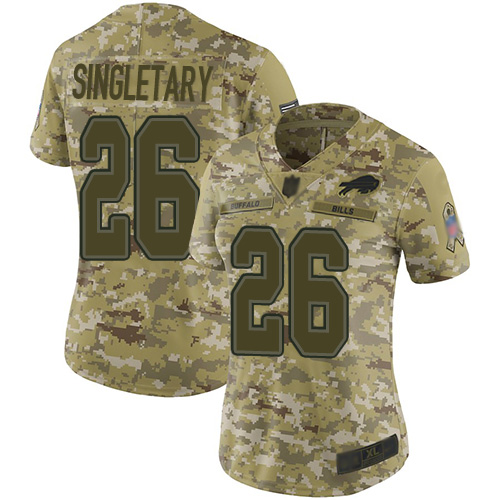 Nike Bills #26 Devin Singletary Camo Women's Stitched NFL Limited 2018 Salute to Service Jersey