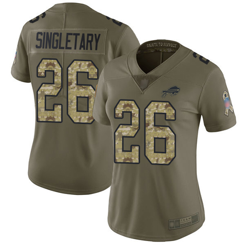 Nike Bills #26 Devin Singletary Olive/Camo Women's Stitched NFL Limited 2017 Salute to Service Jersey