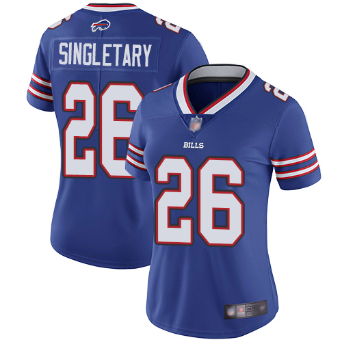 Nike Bills #26 Devin Singletary Royal Blue Team Color Women's Stitched NFL Vapor Untouchable Limited Jersey