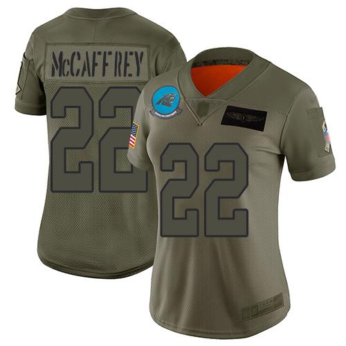 Nike Panthers #22 Christian McCaffrey Camo Women's Stitched NFL Limited 2019 Salute to Service Jersey