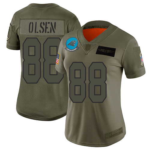 Nike Panthers #88 Greg Olsen Camo Women's Stitched NFL Limited 2019 Salute to Service Jersey