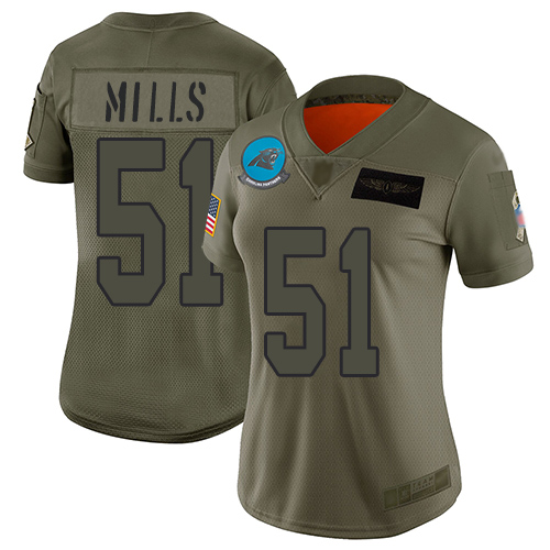 Nike Panthers #51 Sam Mills Camo Women's Stitched NFL Limited 2019 Salute to Service Jersey