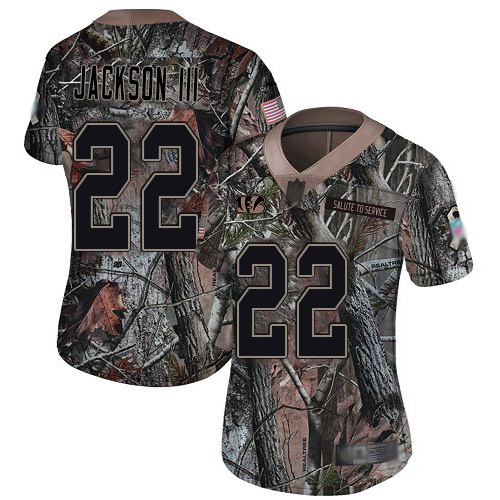Nike Bengals #22 William Jackson III Camo Women's Stitched NFL Limited Rush Realtree Jersey