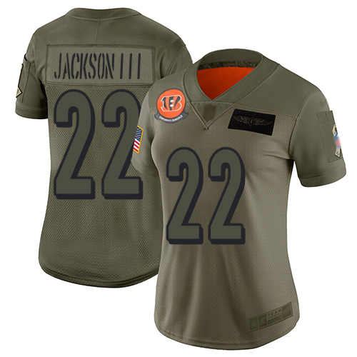Nike Bengals #22 William Jackson III Camo Women's Stitched NFL Limited 2019 Salute to Service Jersey