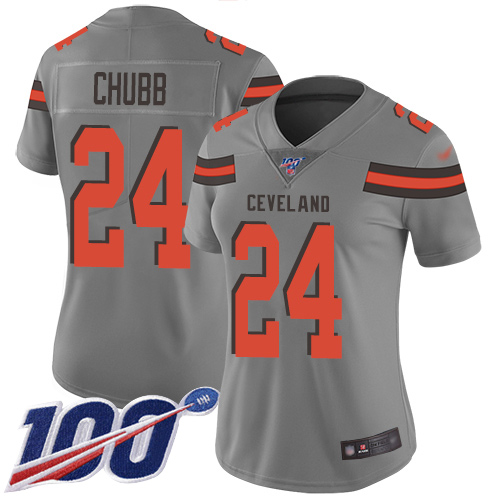 Nike Browns #24 Nick Chubb Gray Women's Stitched NFL Limited Inverted Legend 100th Season Jersey