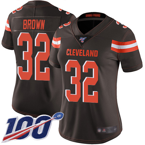Nike Browns #32 Jim Brown Brown Team Color Women's Stitched NFL 100th Season Vapor Limited Jersey