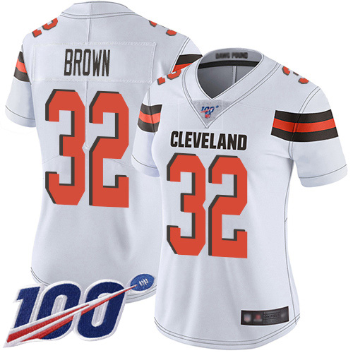 Nike Browns #32 Jim Brown White Women's Stitched NFL 100th Season Vapor Limited Jersey
