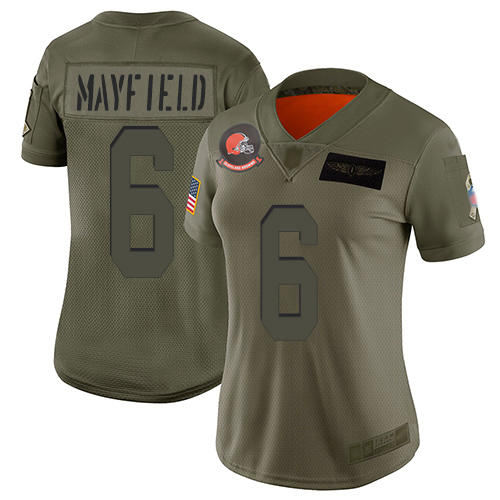 Nike Browns #6 Baker Mayfield Camo Women's Stitched NFL Limited 2019 Salute to Service Jersey