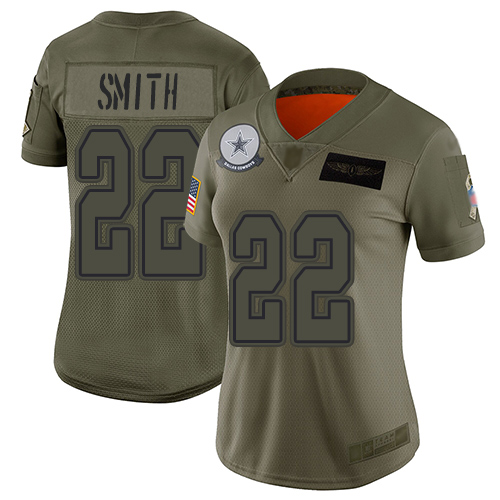 Nike Cowboys #22 Emmitt Smith Camo Women's Stitched NFL Limited 2019 Salute to Service Jersey