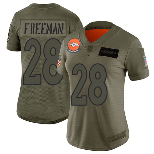 Nike Broncos #28 Royce Freeman Camo Women's Stitched NFL Limited 2019 Salute to Service Jersey