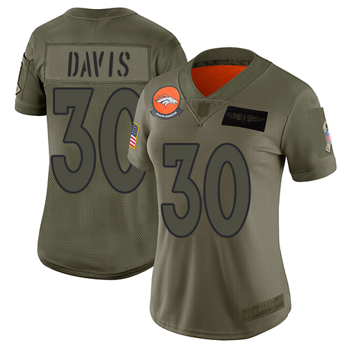 Nike Broncos #30 Terrell Davis Camo Women's Stitched NFL Limited 2019 Salute to Service Jersey