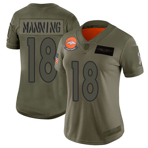 Nike Broncos #18 Peyton Manning Camo Women's Stitched NFL Limited 2019 Salute to Service Jersey