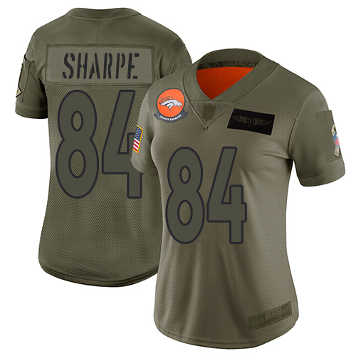 Nike Broncos #84 Shannon Sharpe Camo Women's Stitched NFL Limited 2019 Salute to Service Jersey
