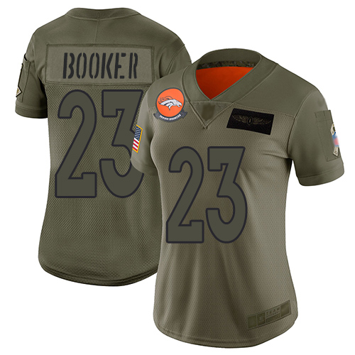 Nike Broncos #23 Devontae Booker Camo Women's Stitched NFL Limited 2019 Salute to Service Jersey