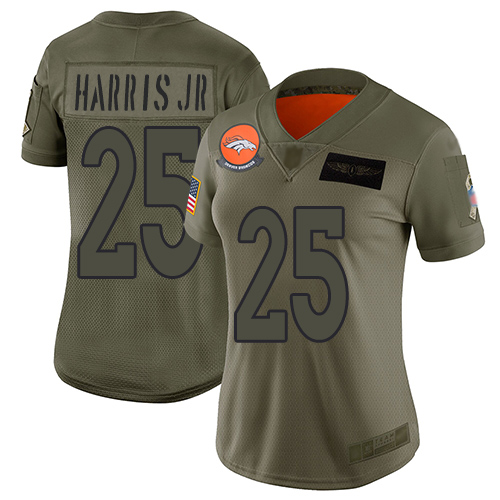 Nike Broncos #25 Chris Harris Jr Camo Women's Stitched NFL Limited 2019 Salute to Service Jersey